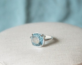 Blue Swarovski Ring Aquamarine Swarovski Blue Ring Blue Crystal Ring Blue Cushion Stone Ring Swarovski Aquamarine Ring