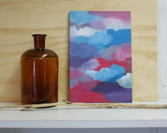 Moods abstract painting on small wooden panel - original - pink blue purple colours