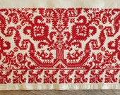 Antique Swedish Hand Loomed Embroidered Linen Table Runner