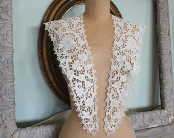 Antique Embroidered Lace Shawl Collar