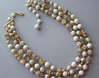Vintage Necklace 3 Strands Unique Mixed White Beads Signed Laguna