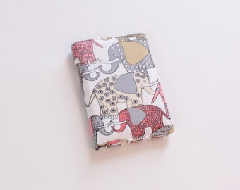 Elephant Wallet, Women's Bifold Fabric Wallet in White, Gray, and Pink Elephants, Card Wallet - PREORDER
