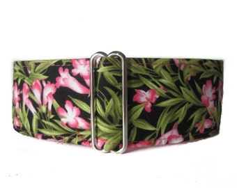 Pink Martingale Collar, Wide Dog Collar, Floral Martingale Collar, Pink Dog Collar, Floral Dog Collar, Made in Canada, Sighthound Collar