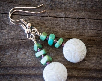 Carved White Glass and Turquoise Earrings