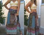 Patchwork boho Skirt, size S/M , eco clothing, festival skirt, hippie skirt, jersey skirt, gypsy skirt,earthy skirt, patchwork skirt, Zasra