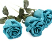 3 leather roses blue bouquet third Anniversary wedding gift Long Stem leather Flower Valentine's Day 3rd Leather Anniversary Mother's Day