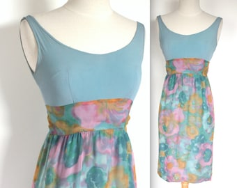 Vintage 1960's Dress // 60's Powder Blue and Watercolour Floral Print Wiggle Dress // 60s Summer Dress