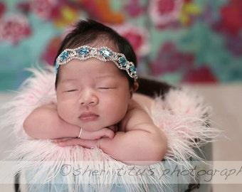 Blue headband - rhinestone headand - diamond headband - newborn headband - girls headband - luxe couture headband - photo prop