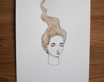 Golden Lady Original Drawing