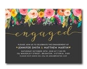 Engagement Party Invitation | Gold Floral Engaged Invitation |Party Invitation | Watercolor Flowers 2700