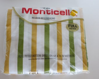Cannon Monticello Full Fitted Sheet-Happy Stripes-NEW-Original Package-Old Stock