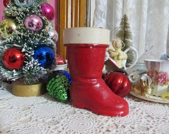 Vintage Paper Mache Santa Boot Candy Container-Germany
