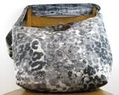 GREY CROSSBODY BAG - Boho Bag - Over Shoulder Bag - Vegan Bag - Slouch Bag - Hippie Bag - Handmade Bag - Animal Print Bag - Across Body Bag