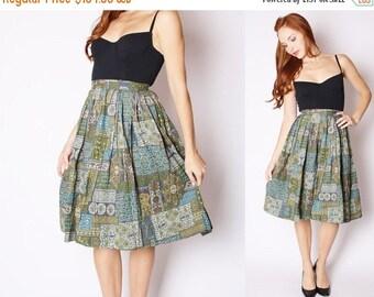 70% Off FINAL SALE - Vintage 1950s Skirt - 1950s Cotton Skirt - Vintage 50s Circle Skirts - Vintage Moroccan Skirt - 2547