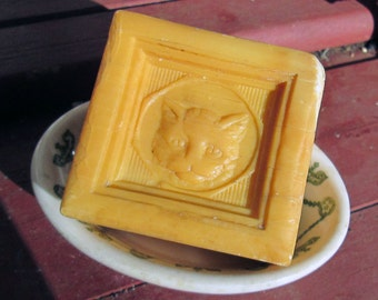 Vintage French Marseille Soap LE CHAT and Ironstone Soap Dish
