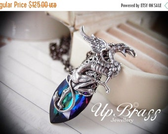 CLEAROUT SALE 40% OFF Azrael --Swarovski X-large green sphinx crystal,aged silver brass griffin necklace