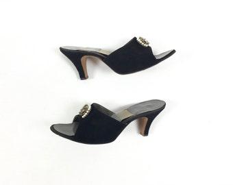 Vintage 1950s Shoes / 1960s Shoes / Vintage Springolator Heels / Springolators / Black Shoes Pinup Heels Size 6 6.5 6 1/2