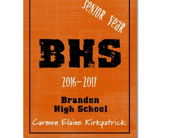 Hardcover Memory Book - High School Senior Year (Class of 2018) Graduation, Scrapbook, Photo Album, Big Brown Chair, Photobook,