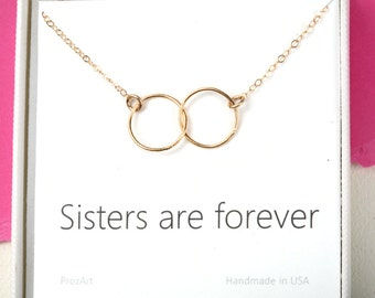 Karma circle necklace,Two interlocking circles,custom note card,Sisters Necklace,Best friend Gift,Sister in Law Jewelry,Bridesmaid gift,