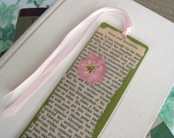 Light Pink and Green Pressed Flower Jane Austen Book Page Sense and Sensibility Laminated Bookmark