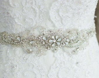 Wedding belt, Wedding dress belt, Rhinestone wedding, Lace Wedding dress sash, Crystal Bridal sash, Rhinestone sash