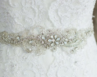 Wedding belt sash, Rhinestone belt, Wedding dress belt, Bridal sash ,Crystal sash, Rhinestone sash, Lace belt, Beaded sash, Ivory Thin