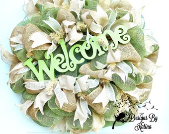 Everyday Wreath, Moss Apple Green Welcome Wreath, Everyday Welcome Wreath