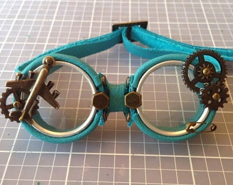 OOAK Blythe Turquoise Steampunk Goggles by Kaleidoscope Kustoms