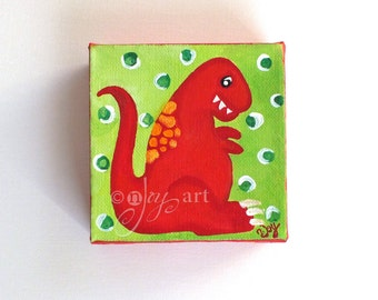 Dinosaur Mini Painting, Daily Doodle 3/31/16 4x4 Miniature acrylic canvas art