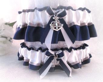 Military U.S. Navy garter set - Dress Blue Garter set - Navy Wedding Garters - US Navy Garters.