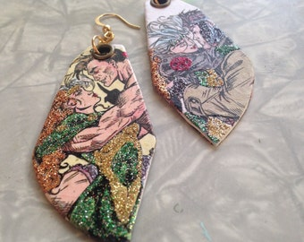 Rogue and Gambit - hand-painted X-Men glitter earrings