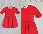 vintage 1950s little girl's dress - HOLLY RED cotton party dress / 3T