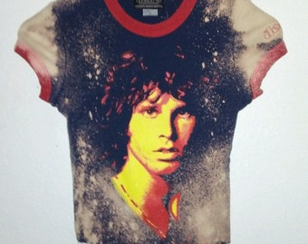 Jim Morrison T Shirt / The Doors / Crop Top / Ringer / Band Tee / Graphic / Distressed / Indie / Grunge / Classic Rock N Roll / Body Con Top