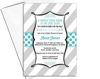 Gender neutral baby shower invitations | neutral baby shower invites | gray and teal baby shower ideas | printable - WLP00782
