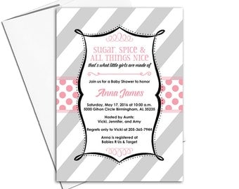 Unique baby girl shower invitation printable or printed | black pink gray baby shower invites girl | sugar and spice baby shower - WLP00782