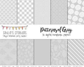 Digital Scrapbook Paper Gray Patterns - 10 Papers - 12x12 -  Dots, stripes, feathers, leaves, flowers, diamonds, gingham - INSTANT DOWNLOAD