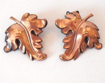 Vintage Copper Leaf Shaped Clip On Earrings 1960