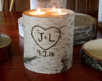 Personalized Birch Bark Candle Holder Wedding Date Anniversary Engagement Bride and Groom Gift Bridal Shower