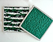 Quilted Black Stallion Horse Pot Holders / Hot Pads / Trivets / Candle Mat- Green, Black and White - Set of 2