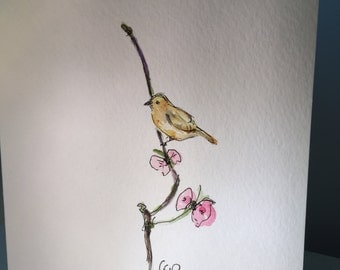 Little Yellow Bird Card / Watercolor Card