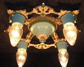 Vintage Riddle 4 Bulb Ceiling Fixture Semi-Flushmount  Restored Antique Lighting