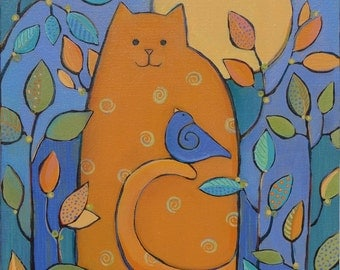 Art,Painting on Canvas, Original Acrylic, Orange Cat and Bird, nature theme, 12 x 12 inches,home decor