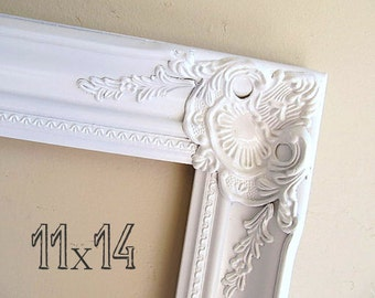 Shabby Chic PICTURE FRAME 11x14 Frame Bridesmaid Gift Wedding Picture Frame French Country Farmhouse Decor Photo Frame White Gold Frame
