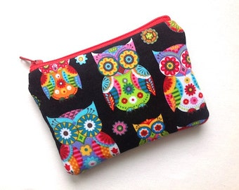 Owls Coin Case,Padded Zipper Pouch, Purse, Gadget Case, Clutch - Neon Owls on Black NEW