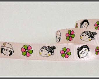 5 Yards LITTLE GIRLS on Light Pint 3/8 Grosgrain Ribbon (other colors also available)