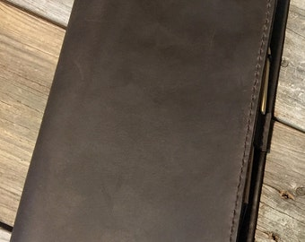 Dark Brown Leather Cover for Large Moleskine Notebook