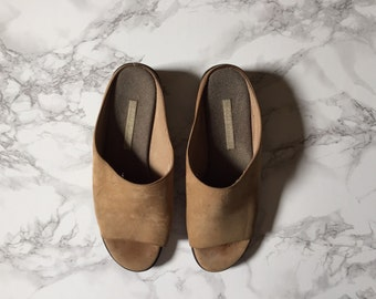 almond brown suede slide ons / wedge platform slide on shoes / size 8.5