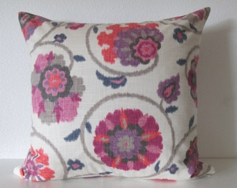 Pamir Punch suzani floral raspberry pink purple decorative pillow cover
