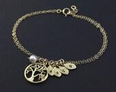 Mother's Birthday Gift, Family Tree Bracelet, Personalized Gold Bracelet, Silver Tree Bracelet,Monogram Initial Leaf Bracelet