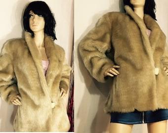 Vintage Jacket Honey Blonde Faux Fake Fur Fabric Swing Coat 60's 70's Fashion Coats by Cattiva Medium Plush Soft Shaggy with Pockets Cozy
